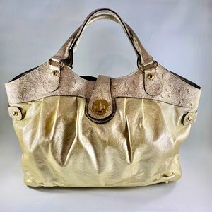 Guess Large Satchel in Metallic Gold